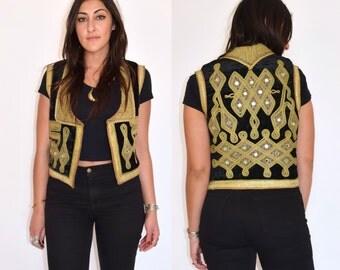 Antique Vintage OTTOMAN Turkish Black Velvet Gold Embroidered GYPSY Tribal Jimi Hendrix Vest