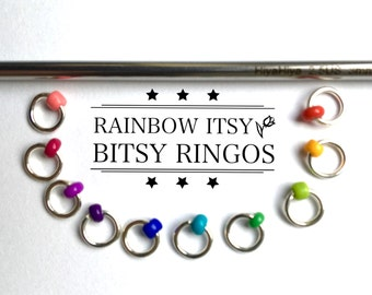 Sock markers, MINI ringos, knitting stitch markers - ITSY BITSY Rainbow