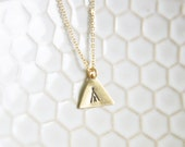 Gold Brass Stamped Tee Pee Necklace - Bohemian Southwestern Necklace - Boho Necklace - Aztec Indian Necklace - New Mexico Geometric Necklace