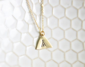 Gold Brass Stamped Tee Pee Necklace My Tribe Necklace  Bohemian Southwestern Necklace Aztec Indian Necklace - New Mexico Geometric Necklace