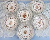 Set of 6 Vintage Berry Bowls - German Schumann Bavaria Portrait Dresden - Reticulated, Pierced Rim