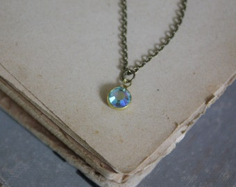 Crystal Drop Necklace - Tiny Crystal Necklace - Swarovski Crystal Drop - Rainbow Crystal