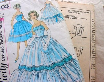 UNCUT * Vintage 1960's Simplicity  Pattern 3503 - Beautiful Formal EVENING  DRESS or Ball Gown - Size 14 * bust 34