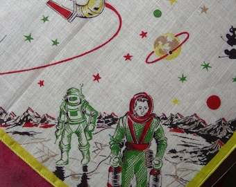 Vintage Children's Cotton NOVELTY Hanky Handkerchief (Yellow Hem) -   Outer Space , Space Rockets Costumes, ASTRONAUTS Walking on the Moon