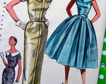 UNCUT * 1950s  Vintage Simplicity Pattern 1566 - Ladies' One Piece Dress w/ Two Skirts: Slim or Full - Size 18 * Bust 36
