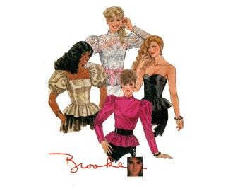 1980s Evening Tops Pattern Strapless Puff Sleeve High Collar Peplum Leg O Mutton Sleeve McCalls 8832 Bust 30 Vintage Sewing Pattern