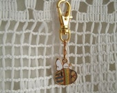 Vintage Snoopy Aviva Easter Snoopy Charm Gold plated Clip or Zipper Pull Charm or can be used for a Necklace Charm