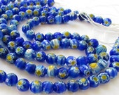 BULK SALE - Faceted milefiori round beads single or multiple strands 7.5mm
