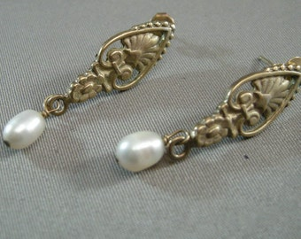 Vintage Sterling Dangle Earrings w/ Real Pearls