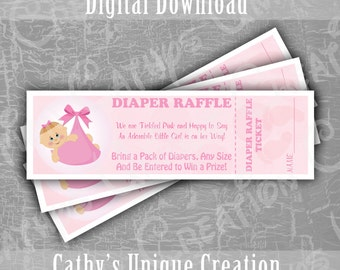 INSTANT DIGITAL DOWNLOAD Baby Girl Bundle of Joy Diaper Raffle Tickets, Baby Shower Game, Tickled Pink, Diaper Game, Printable, Letter, A4