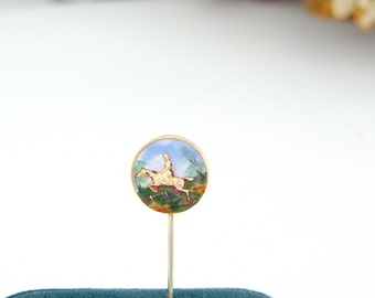 Edwardian Antique Enamel Stickpin | Gold Enamel Antique Stickpin | Equestrian Jewelry