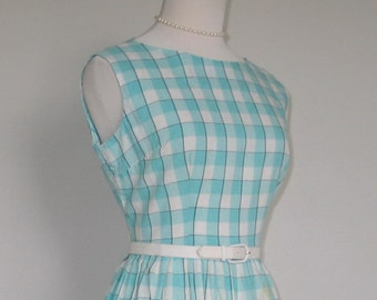 Vintage 1950s Aqua White Black Plaid Novelty Weave Spring Summer Day Dress Housedress  M L