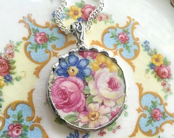 Recycled china. Broken China Jewelry broken china necklace recycled china oval pendant antique white rose pink blue yellow flowers