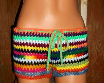 DARE To Be Different Multi Colors Crochet Shorts, Beach Wear, Summer Wear, Bikini Cover-ups, beach shorts, boy shorts, swimsuit accessories