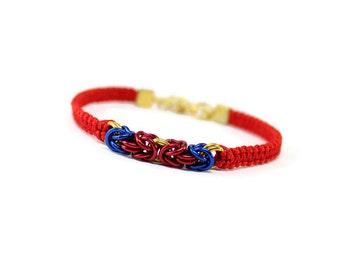 Geek Bracelet, Superhero Bracelet, Byzantine Bracelet, Red Cord Bracelet, Chainmaille Bracelet, Chainmaille Macrame, Comic Book Hero