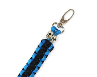 Double Ended Keychain, Black and Blue Skull Paracord Keychain with Swivel Clasp, Survival Keychain - Double Sided, Reversable Keychain