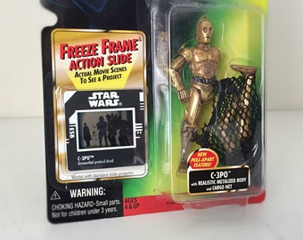 Star Wars Figure C-3PO Pull Apart Limbs & Cargo Net - 90's Kenner Star Wars C3PO Toy with Freeze Frame Movie Slide from Empire Strikes Back