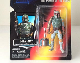 Star Wars Boba Fett Action Figure, Empire Strikes Back - 1995 POTF Kenner Star Wars Figure - Vintage Star Wars Toy - Bounty Hunter