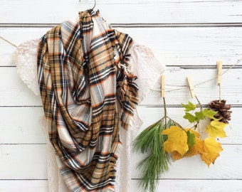 Plaid Scarf, Blanket Scarf, Cream, Brown and Orange Scarf, Fall Scarf, Chunky Scarf, Oversized Scarf, Flannel Plaid Scarf, Gift for Her