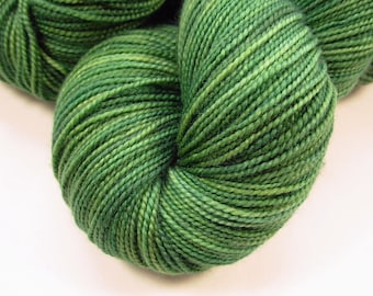 Hand Dyed Sock Yarn - Sock Weight Superwash Merino Wool Yarn - Laurel - Knitting Yarn, Wool Yarn, Gift for Her, Green