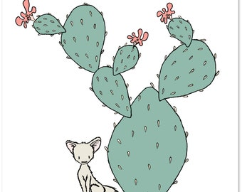 Nursery Art -- Southwest Fox -- Cactus Nursery Art -- Kids Wall Art
