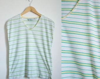 Vintage 1970s Yellow and Green Stripe TShirt