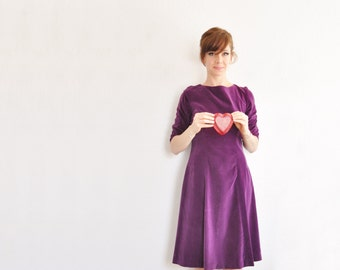 royal purple velvet dress . 1960 plum holiday party wear .medium