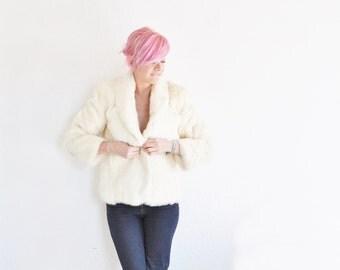 blonde rabbit fur coat . luxuriously soft jacket . winter wonderland .medium .sale