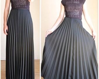 Pleated Maxi Skirt, High Waist Long Skirt, Black Pleated Maxi Skirt, Floor Length Skirt Grunge Goth Minimalist XS Full Length Pleated Skirt