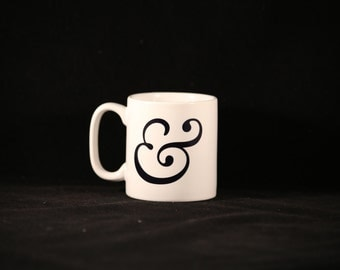 Ampersand graphic sublimation printed 11oz china mug typography