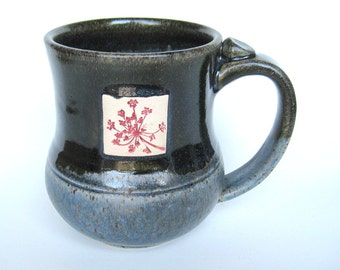 Mug with Queen Ann's Lace impression, IN STOCK