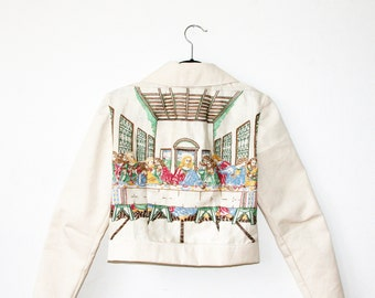 Last Supper Embroidery Jacket / White Denim Jacket / Bomber Jacket / Zip Up Cropped Jacket Size XS S M L