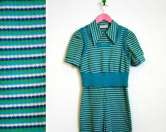 Vintage 1960s Bobbie Brooks Blue and Green Romper/ Vest Set