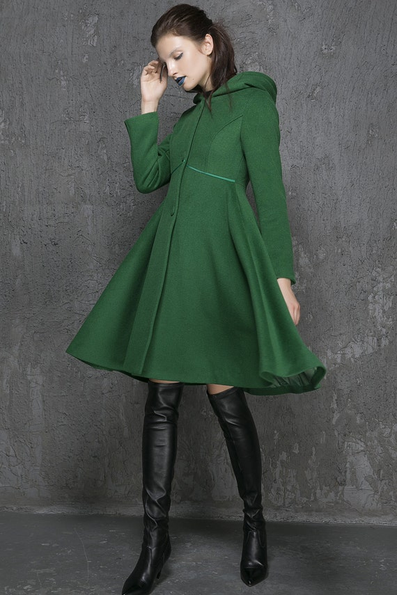 Green coat wool coat long coat hooded coat winter coat