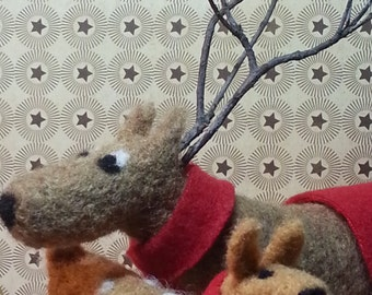 Needle Felted Wool Reindeer, Mom And Doe, With Red Scarves, and Grapevine Legs, Christmas or Winter Decor