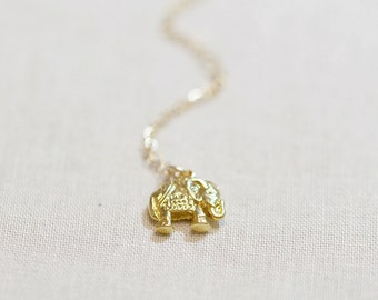 Gold Elephant Necklace   Lucky Elephant Necklace