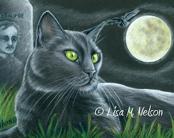 Black Cat Raven and Poe Giclee Print of my Original Colored Pencil Drawing