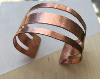Hammered Cut-Out Copper Cuff | Adjustable | B11617