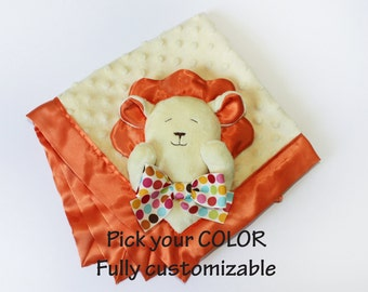 Yellow Lion Security Blanket baby blanket Lovey Blanket Satin Baby Blanket Stuffed Animal Baby Toy cat animal blanket - Customize Color