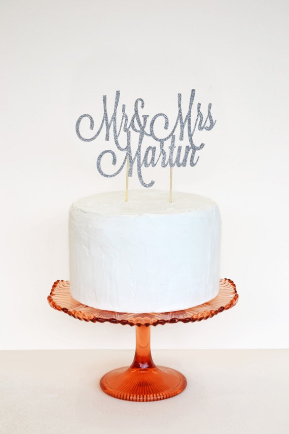 Glitter custom name cake topper or wedding decoration