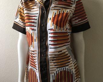 Vintage Women's 60's Alex Coleman, Mod, Polyester Blouse, Short Sleeve (L)