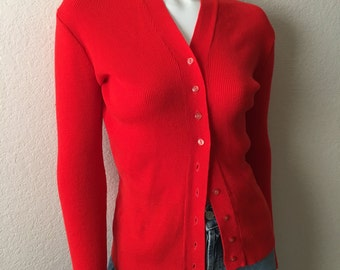 Vintage Women's 70's Red Cardigan Sweater, Long Sleeve (S)