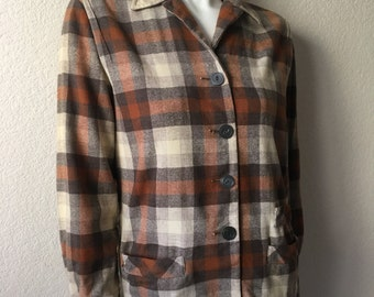 Vintage Women's 50's Bobbie Brooks, Wool Blend, Calgary Jacket, Plaid, Coat (M)