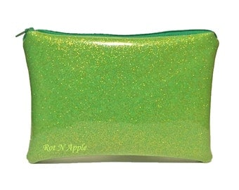 Lime Glitter Vinyl Zipper Pouch - Cosmetic Purse - Makeup Bag - Fully Lined zipper Pouch