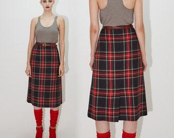 PENDLETON Wool Skirt, Classic Red Tartan Plaid, High Waist Aline Midi Skirt, 70s skirt, size Medium