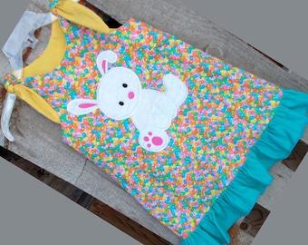 Applique Easter Bunny Jellybean Tie Shoulder Easter Dress Minky Applique Bunny on Jellybean Fabric READY TO SHIP