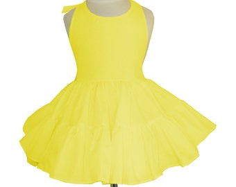 Solid Yellow Twirly Halter Dress Sundress with full ruffled skirt Infant Baby Toddler Girl Square Dance Dress Many colors available!