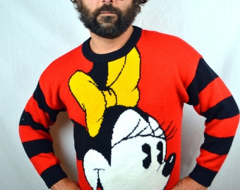 Amazing Vintage 80s Mickey and Minnie Mouse Knit Sweater
