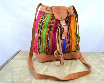 Vintage 80s 90s Rainbow Leather Bag Purse