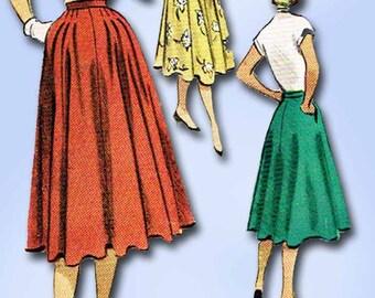 1950s Vintage McCalls Sewing Pattern 8705 Misses Street Skirt Size 26 Waist